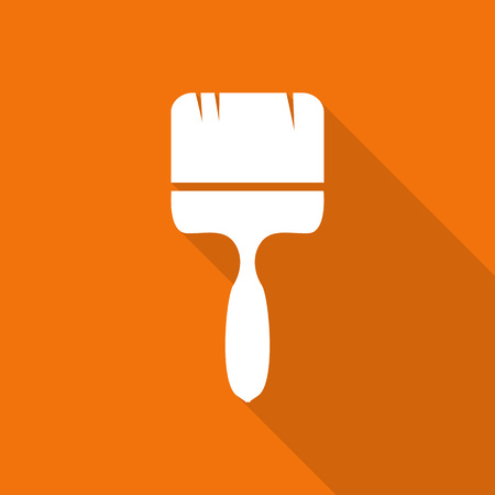 ladder  fence: painting tool flat icon with long shadow. Illustration
