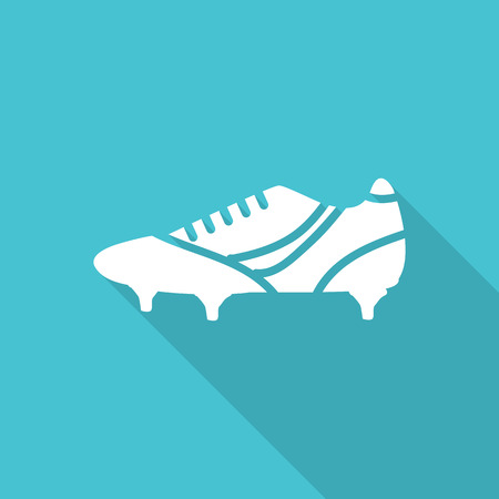 football shoe: football shoe flat icon with long shadow. Illustration