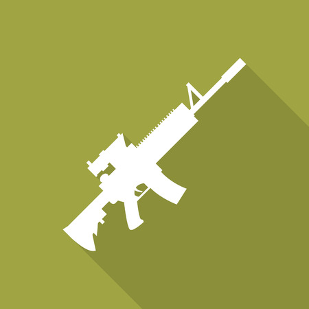 carbine: m4a1 rifle flat icon with long shadow.