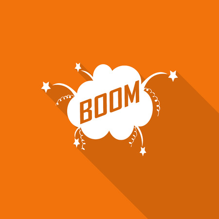boom: Boom! - Comic Speech Bubble flat icon with long shadow.