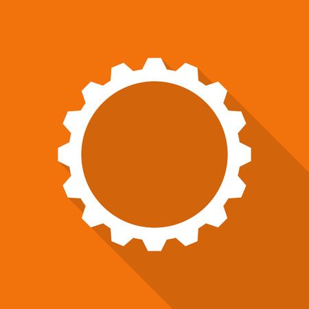 clock: gear flat icon with long shadow.