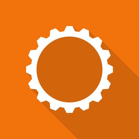 reloj: icono de engranaje plana con una larga sombra.