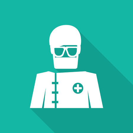 medical gloves: surgery flat icon with long shadow.