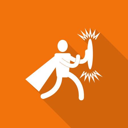 hero superhero flat icon with long shadow.