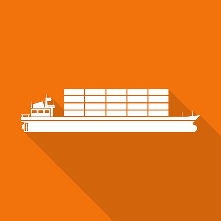 tanker ship: tanker ship flat icon with long shadow. Illustration