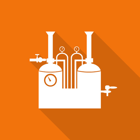 tun: Line of two traditional brewing vessels in brewery flat icon with long shadow. Illustration