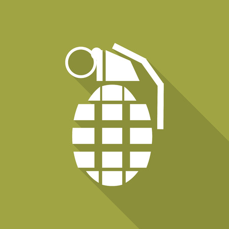 hand grenade: Hand Grenade flat icon with long shadow.