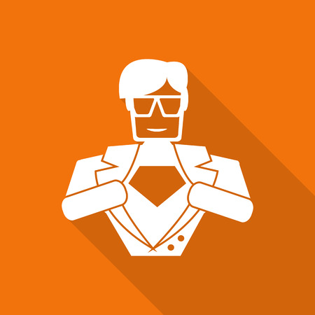 hero superhero flat icon with long shadow.