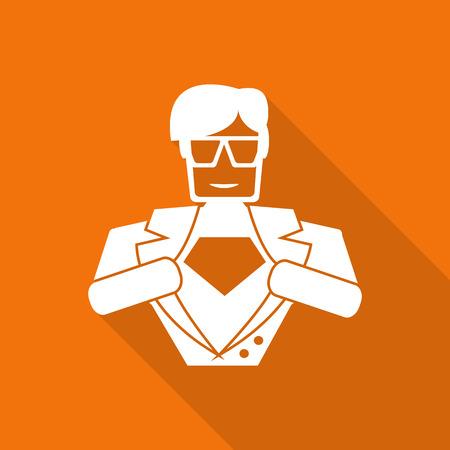 body guard: hero superhero flat icon with long shadow.