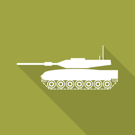 hostility: tank flat icon with long shadow.