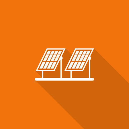 solar cell: solar cell flat icon with long shadow.