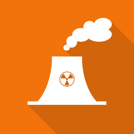 nuclear power plant flat icon with long shadow.