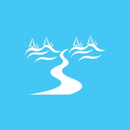 mountain road: River and Landscape flat icon with long shadow. Illustration