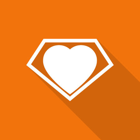 big sign: big heart shaped like a superhero shield, symbol for strong love with long shadow. Illustration