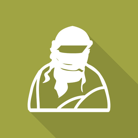 organized crime: Islamic Terrorist Man flat icon with long shadow.