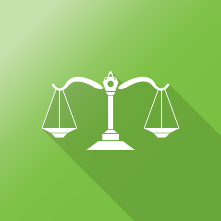 justice scale: justice scale flat icon with long shadow. Illustration
