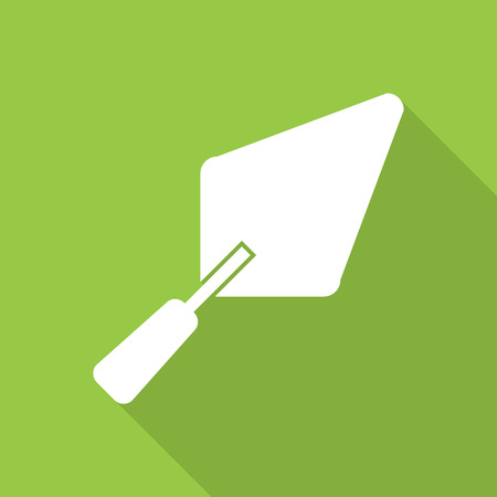 masonry: Trowel icon with long shadow. Illustration