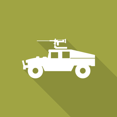 land vehicle: Armed Forces Land vehicle with Machine Gun icon with long shadow.