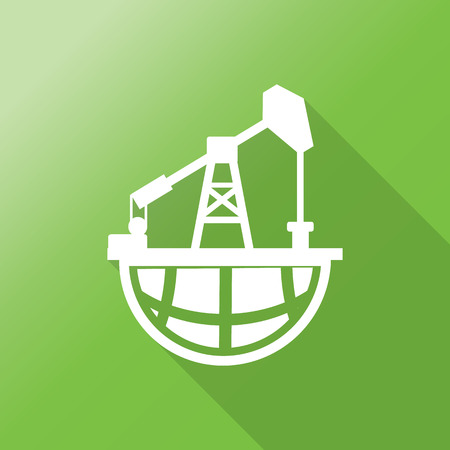 nonrenewable: Pump Jack Oil Crane on world icon with long shadow. Illustration