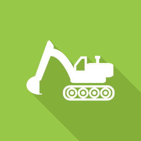dredge to dig: excavator flat style icon with long  shadow