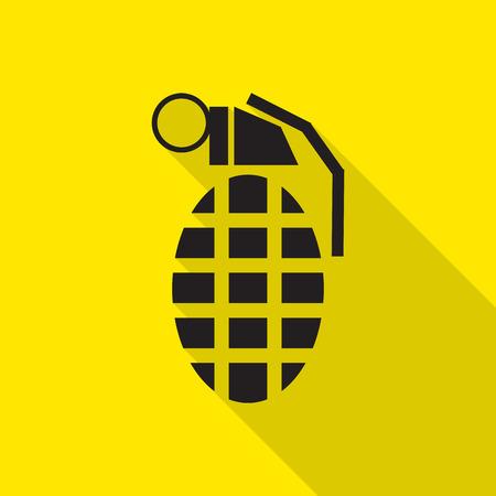 grenade: Hand Grenade flat icon with long shadow.