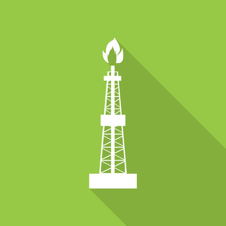 oilwell: Oil, gas rig flat icon with long shadow. Illustration
