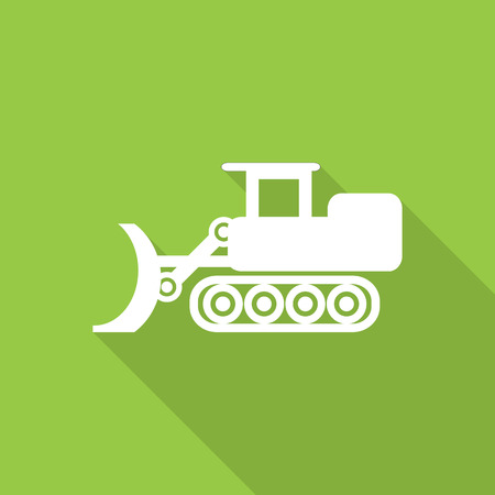 crawler tractor: loader dozer flat style icon with long  shadow