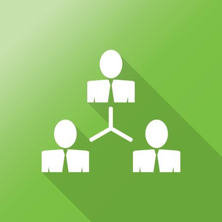 redes de mercadeo: organigrama icono plana con una larga sombra.