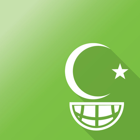 islam symbol on world icon with long shadow.