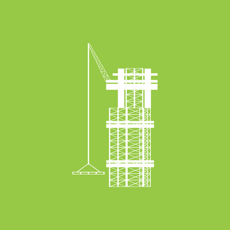 hoist: construction building flat icon with long shadow.