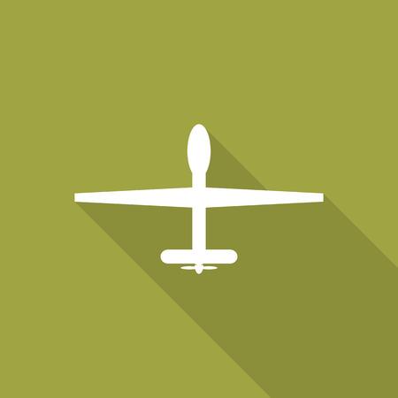 Militaire drones flat icoon met lange schaduw.