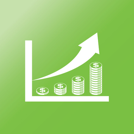 financial graph: coin stack money graph up flat  icon with long shadow.