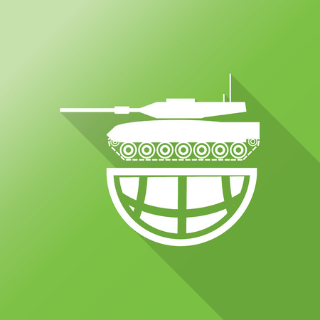 ww2: tank on world icon with long shadow.