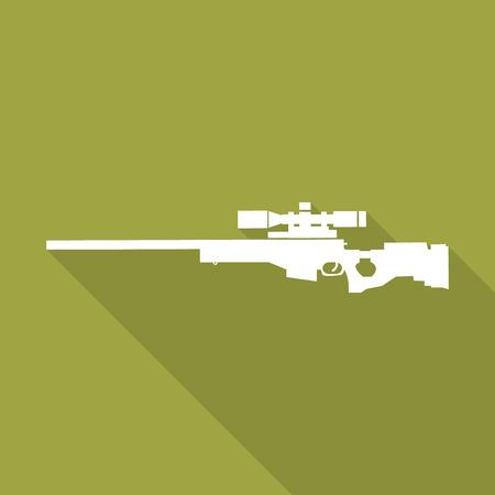telescopic: Icono de rifle de francotirador con una larga sombra. Vectores
