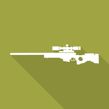 sniper: rifle sniper icon with long shadow.