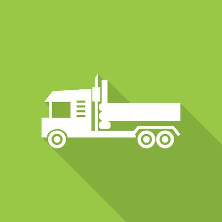 dump truck: dump truck flat icon with long shadow.