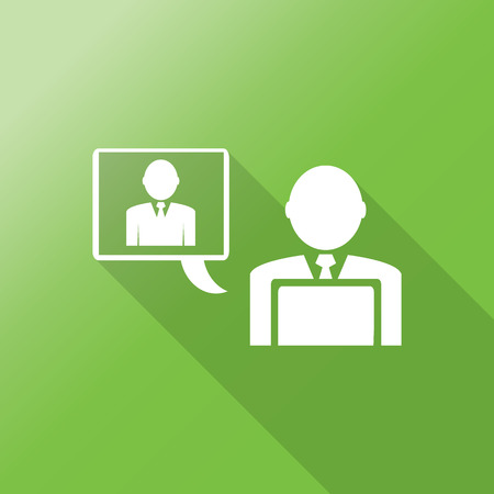 chat online: businessman chat online flat icon with long shadow.