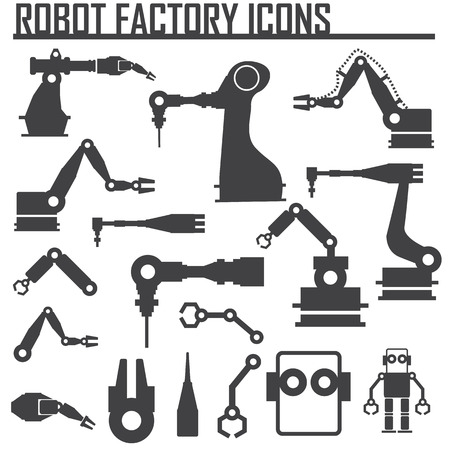 science icons: robot factory icons vector illustration. Illustration