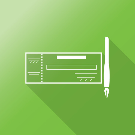 chequebook: cheque icon with long shadow