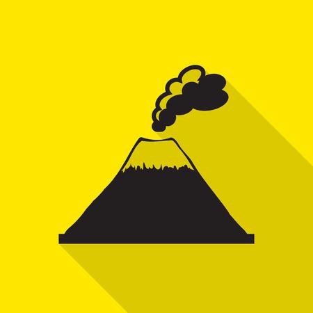 ausbrechen: Vulkan Berg explodiert Symbol mit langen Schatten.