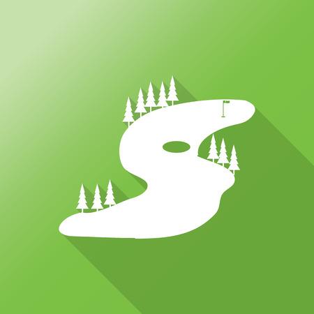 golf field: golf field flat icon with long shadow.