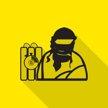 terrorist: terrorist flat icon with long shadow. Illustration