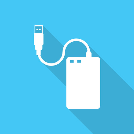 External hard disk vector flat icon with long shadow. Illustration