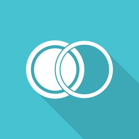 polarizing: filter len icon with long shadow. Illustration