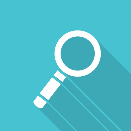 Search icon, Magnify button  flat style icon with long shadow effect Illustration