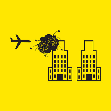 bombing: building bombing icon with long shadow.