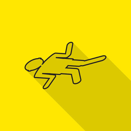 fatality: accidental crime dead icon with long shadow. Illustration