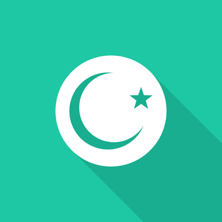 isolation backdrop: Islam sign flat icon with long shadow. Illustration