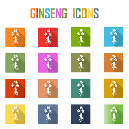 ginseng icon with long shadow. on white background
