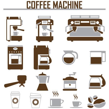 chicchi di caffè: Icone macchina per il caff� Vettoriali
